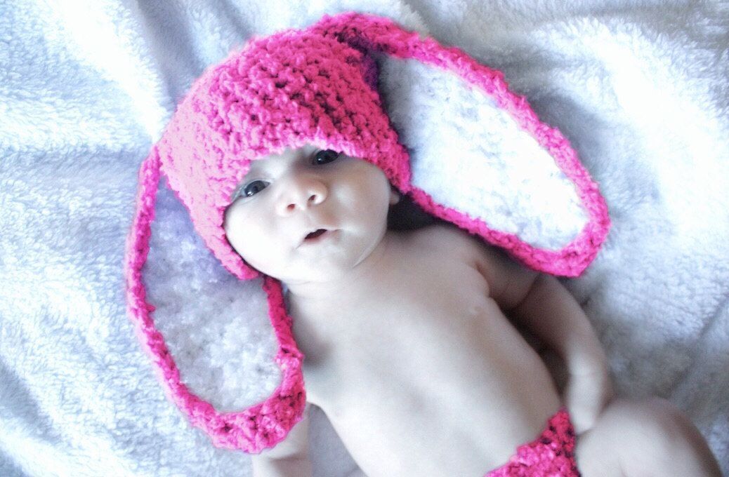 0 to 3m Newborn Crochet Baby Hat, Hot Pink Bunny Hat, Bunny Hat Baby ...