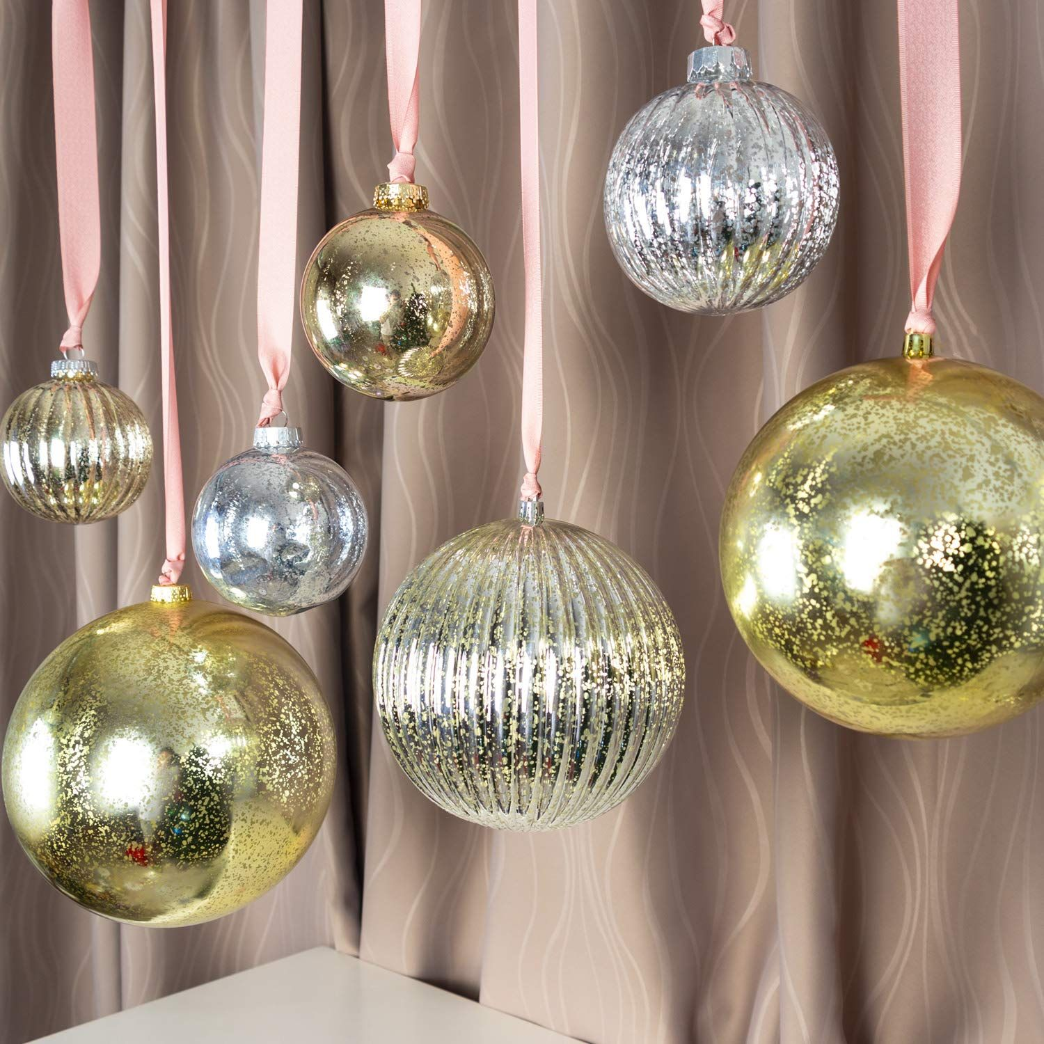 Ki Store Christmas Ball Ornaments Hanging Tree Ornament Decorations 4a Large Shatterproof Vintage Mercury Balls Ball Ornaments Christmas Balls Ornament Decor