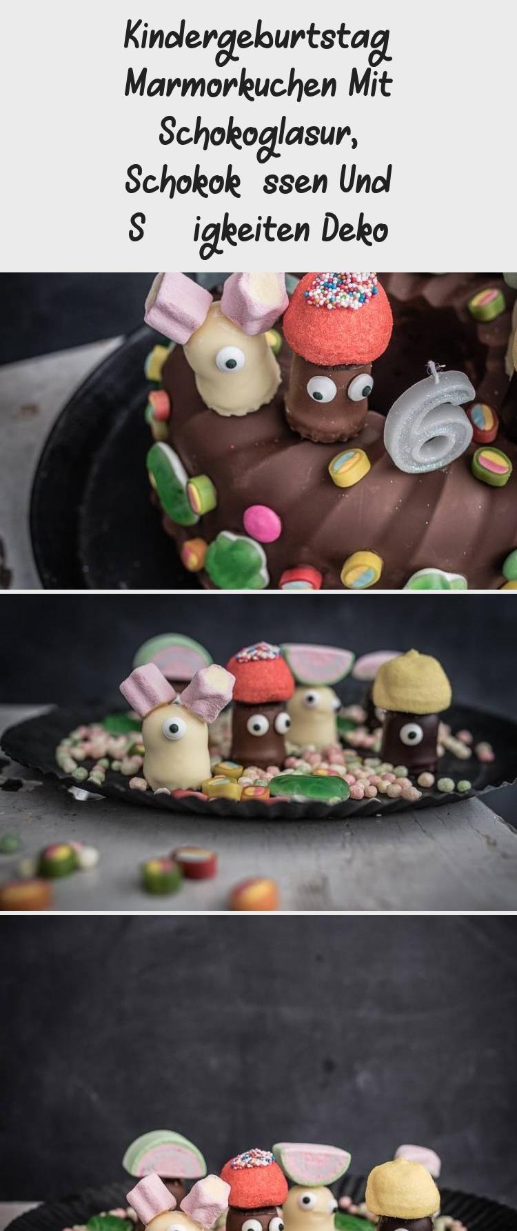 Kindergeburtstag Marmorkuchen Mit Schokoglasur, Schokoküssen Und Süßigkeiten Deko – Kuchen