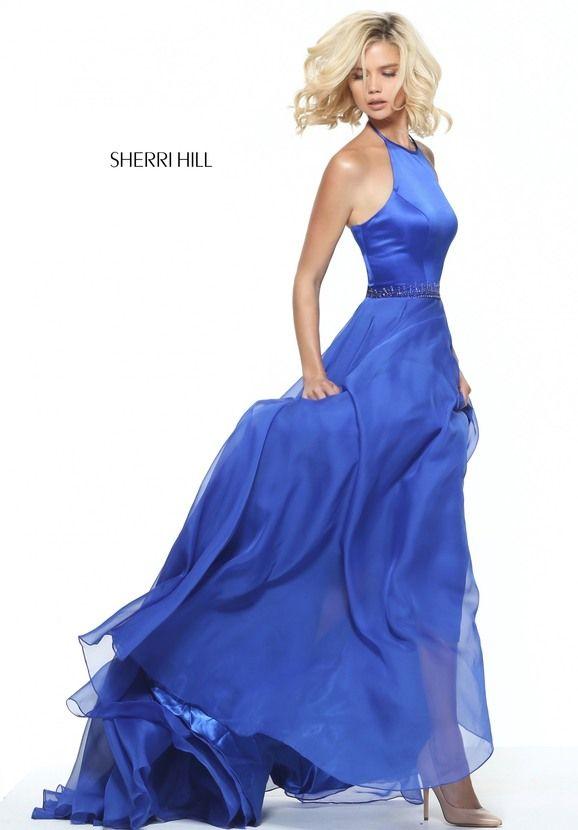 Fluffy Sherri Hill 50971 Long A-line Halter Neck Prom Party Dress