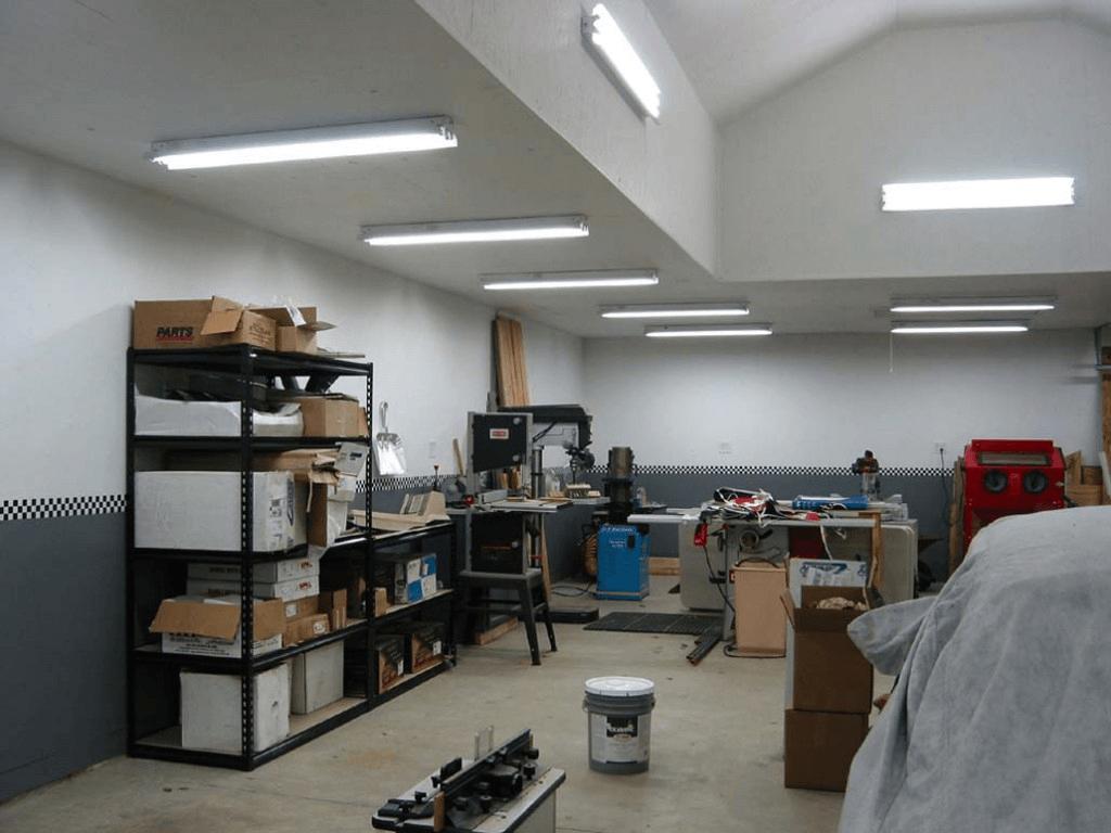 Led tube shop light garage ideas garage garage lighting garage