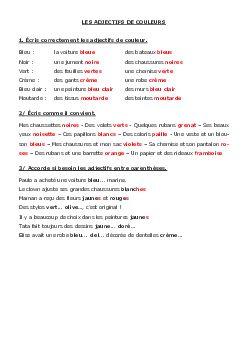 Les adjectifs de couleur - exercices - AlloSchool en 2020 ...