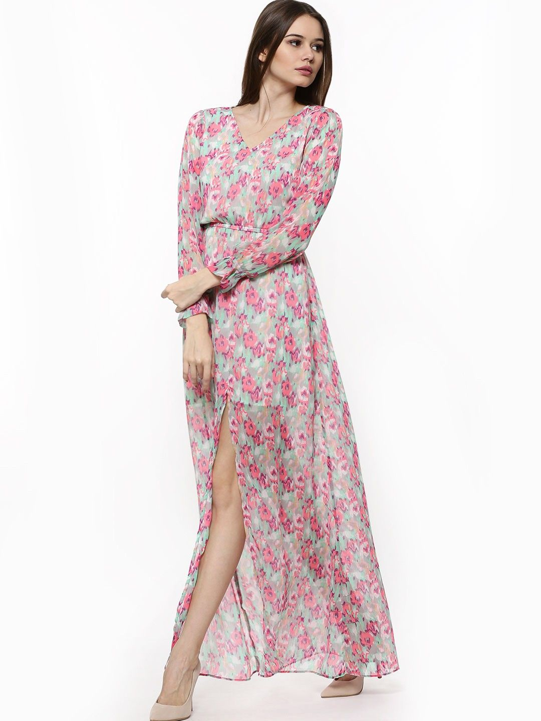 bcb101f612 KOOVS Printed Neon Floral Maxi Dress - Buy Women s Maxi Dresses online in  India