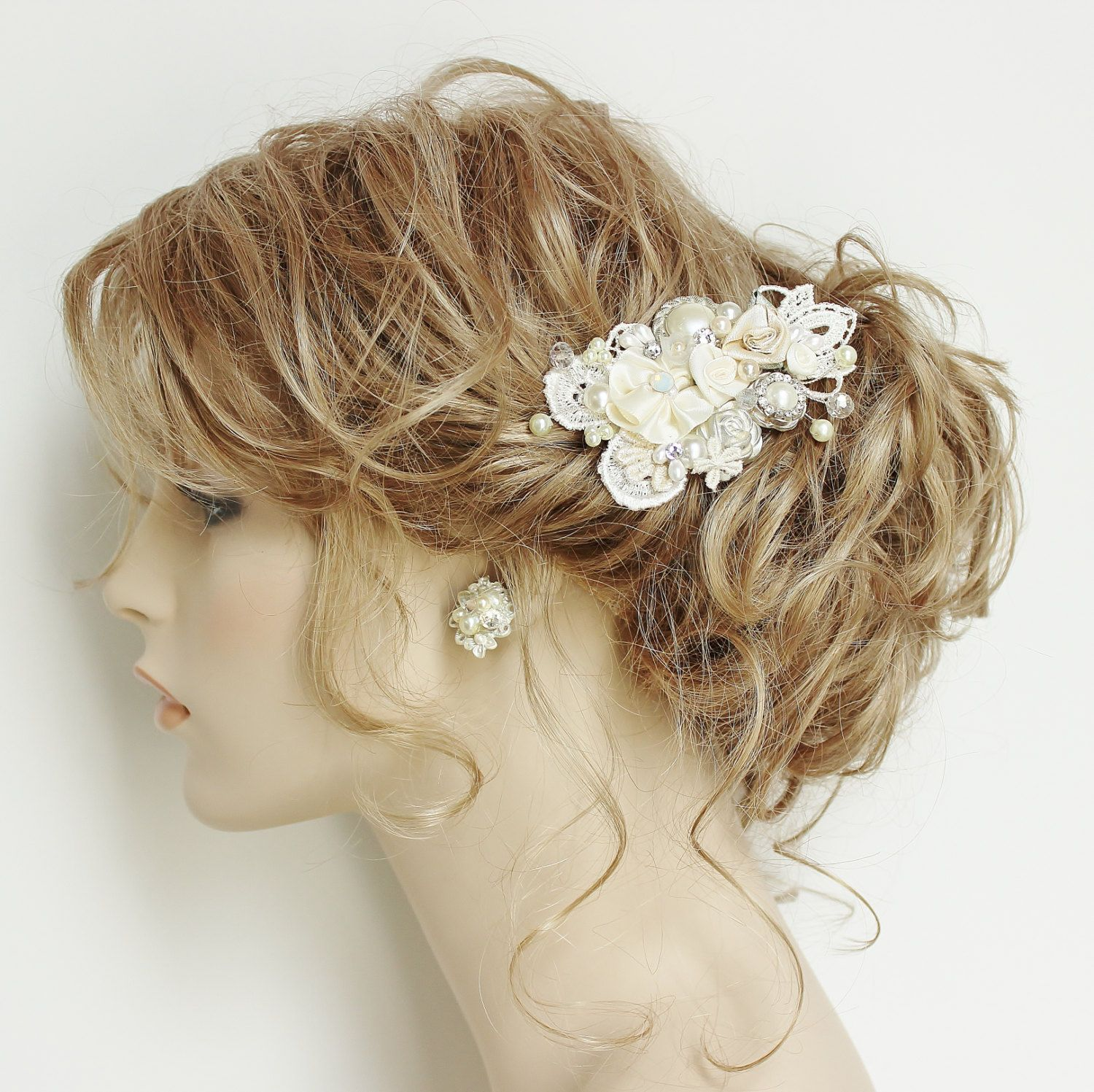 ivory bridal hair comb- ivory clip with flowers,rhinestone, pearls