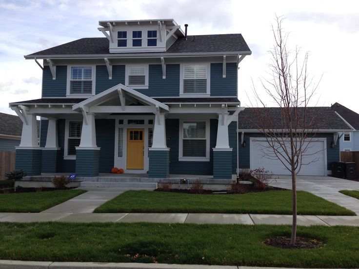 Blue and mustard house exterior google search house color schemes exterior house colors - Front door colors for blue house ...