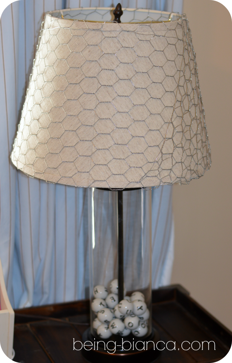 Chicken wire wrapped lamp shade - add a rustic touch to a basic lamp ...