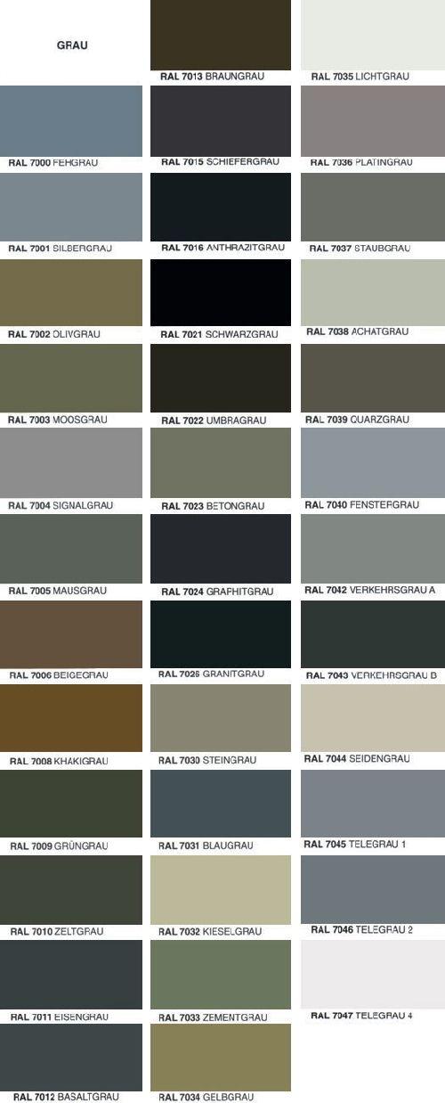Fassadenfarbe farbpalette  Übersicht RAL Farben | Grey | Pinterest | Übersicht, Farben und ...