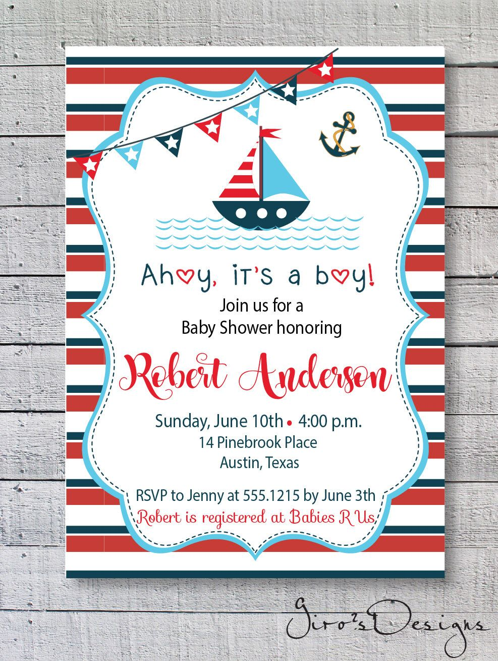 Ahoy Its A Boy Baby Shower Invitation Little Captain Baby