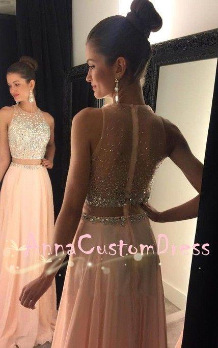 illusion Waist Light Peach Chiffon Long Prom Dress 2018 Plus Size ...