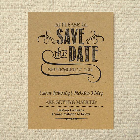DIY Kraft Paper Wedding Save-the-Date - Handlettered Rustic Love