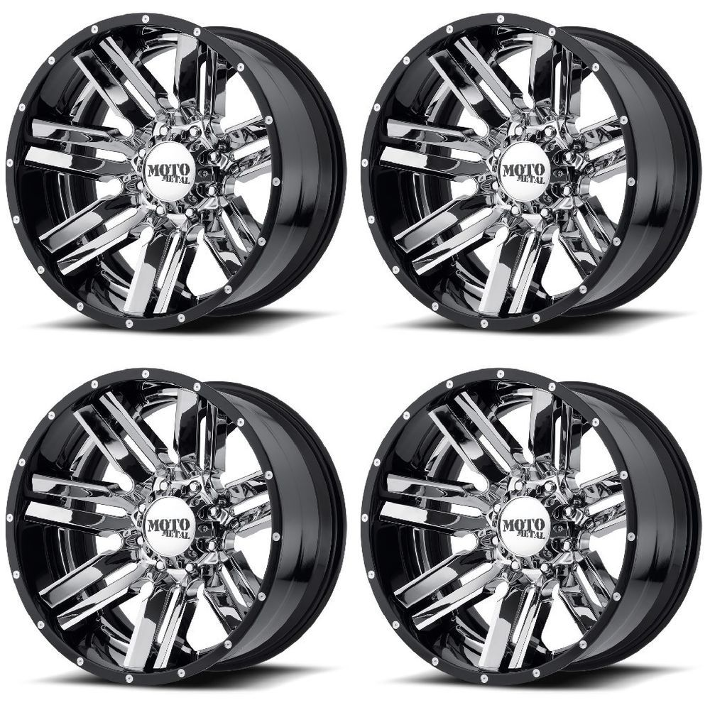 Set 4 20 Moto Metal Mo202 Chrome Black Milled Lip Rims 20x12 8x6 5 44mm 8 Lug Motometal Custom Wheels Cars Chrome Metal