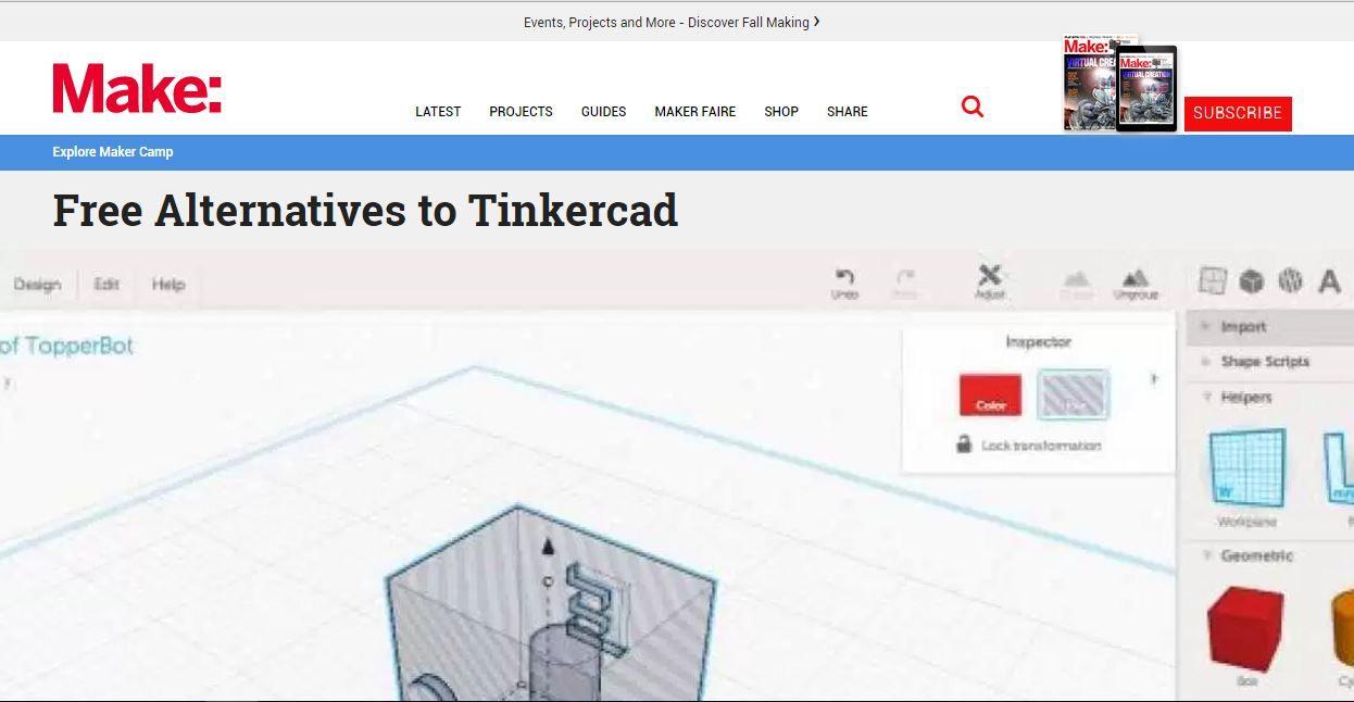 Make Free Alternatives For 3d Design Software Tinkercad 3dtin
