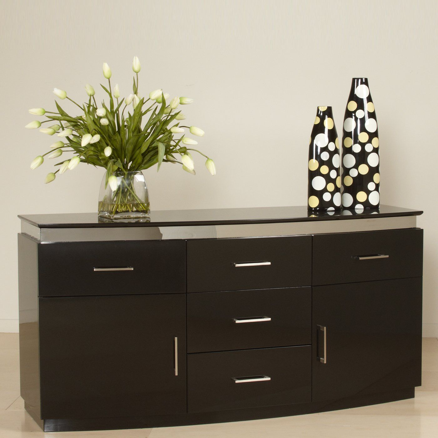 Mueble Buffet Comedor Chintaly Imports Xenia Buff Five Drawer Contemporary