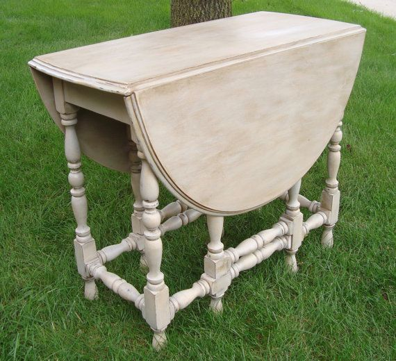 Beautiful Wood Gateleg Table Has Been Chalk Painted Light Gray