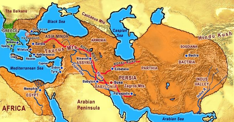Map Of Persian Empire Before Alexander The Great Conquered Persia