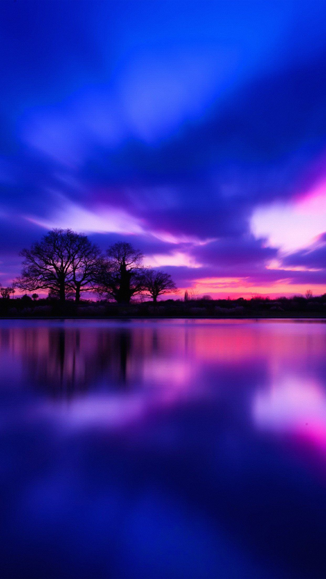 Night Lake Blue Sunset Nature Soft Android wallpaper
