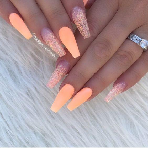 30 Stylish Peach Acrylic Nail Art Designs Manicura De Uñas