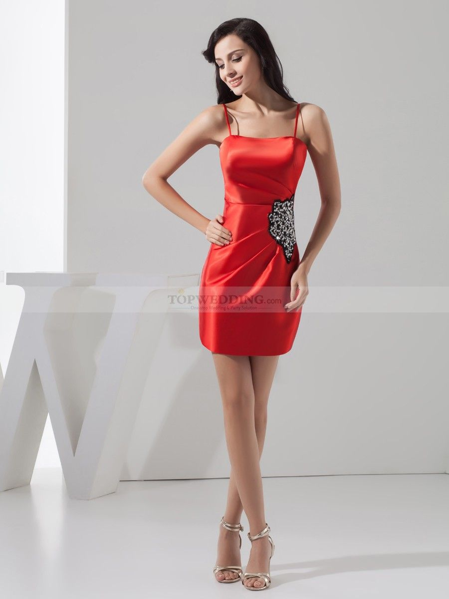 Spaghetti Straps Satin Sheath Party Dress with Rhinestone Covered Patch