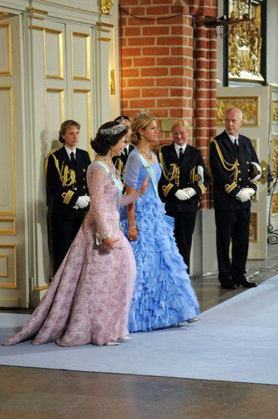 Queen Siliva of Sweden and Princess Madeleine of Sweden attend the wedding ceremony between Crown Princess Victoria of Sweden and Daniel Westling at Stockholm Cathedral on June 19, 2010 in Stockholm, Sweden.
