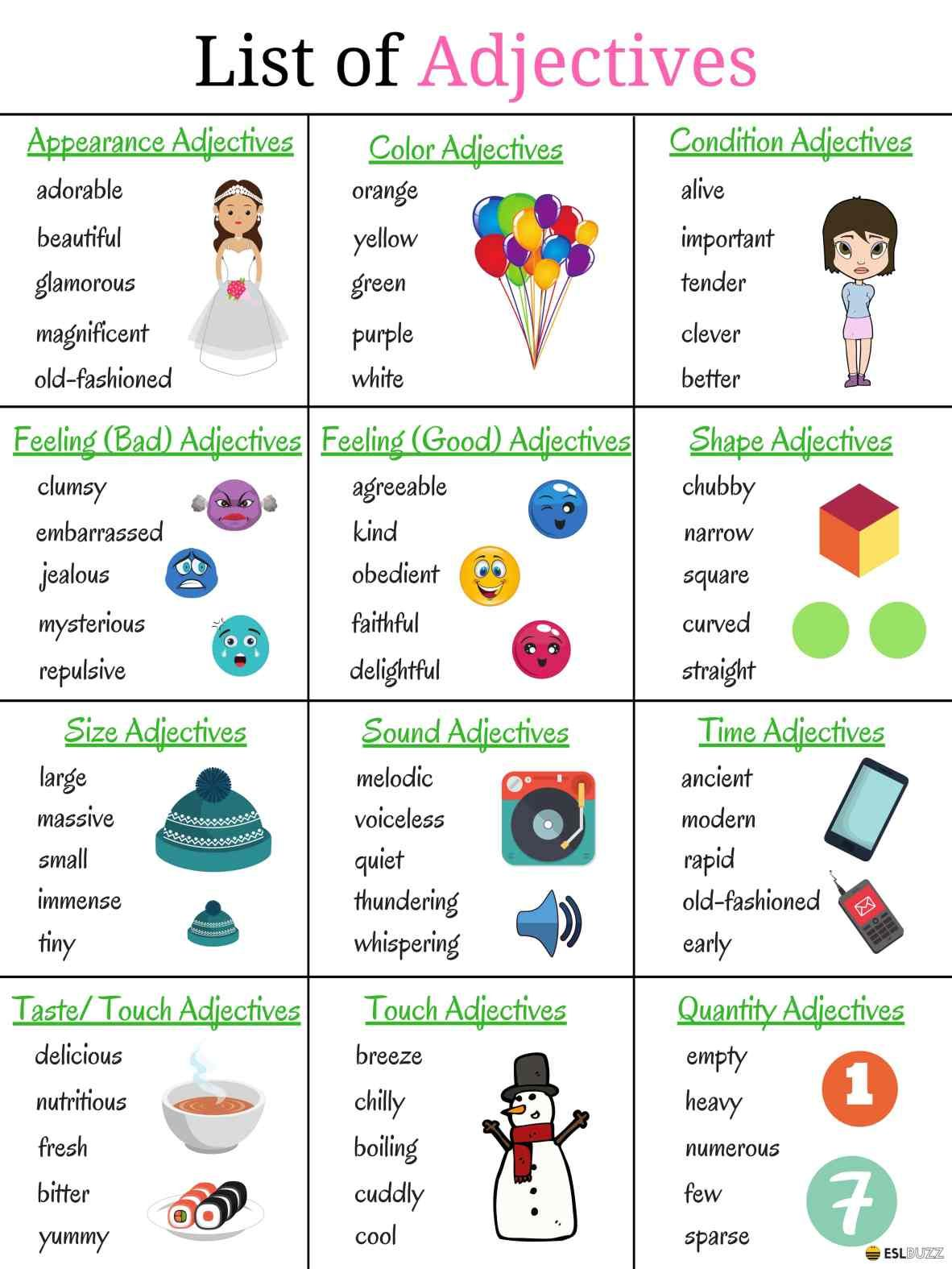 Top 200 Adjectives Used In English Vocabulary For