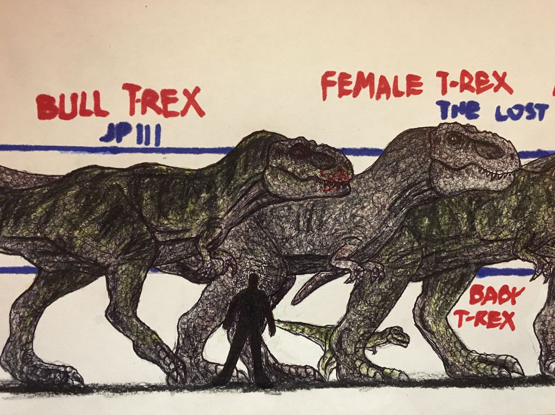TRexs size comparison! done jurassicpark3 amazing