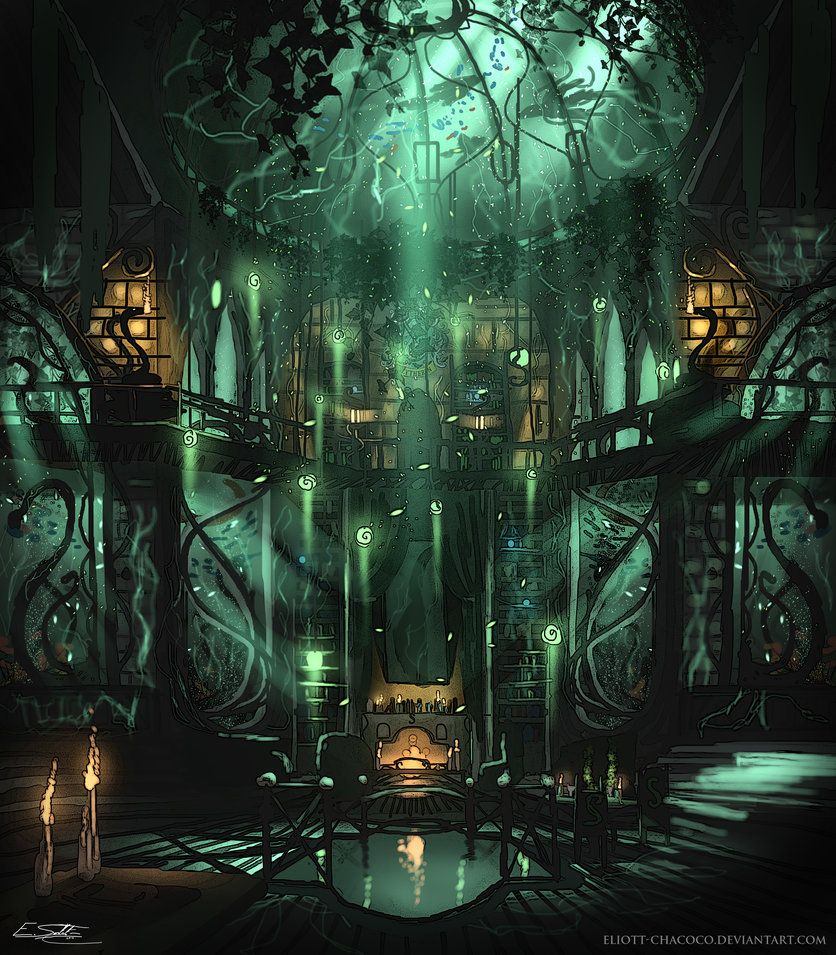 Slytherin Common Room By Eliott Chacoco Hogwarts