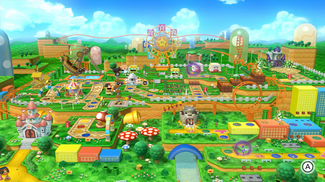 A Party Board That Is An Amusement Park Based On New Super Mario