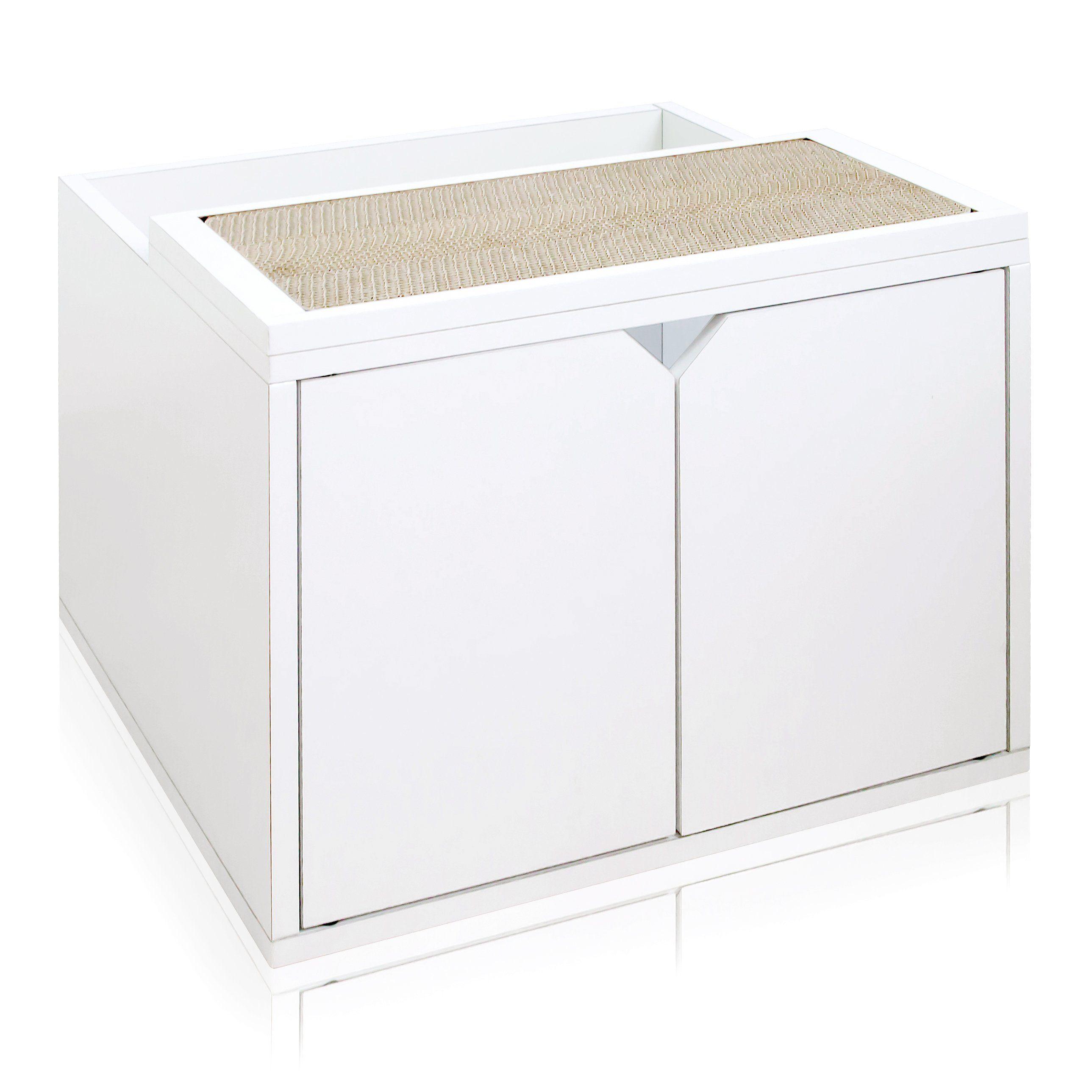 Cat Litter Enclosure, White Litter box enclosure, Cat