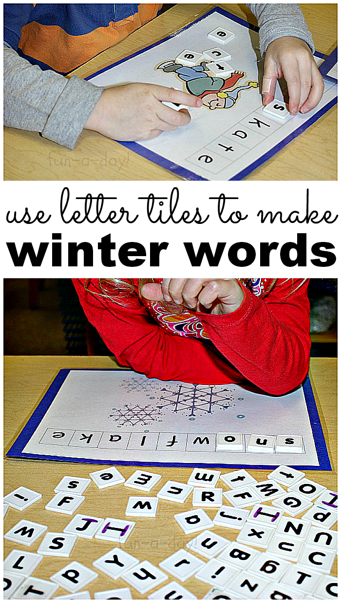 Preschool Winter Words Free Printable to Use with Letter