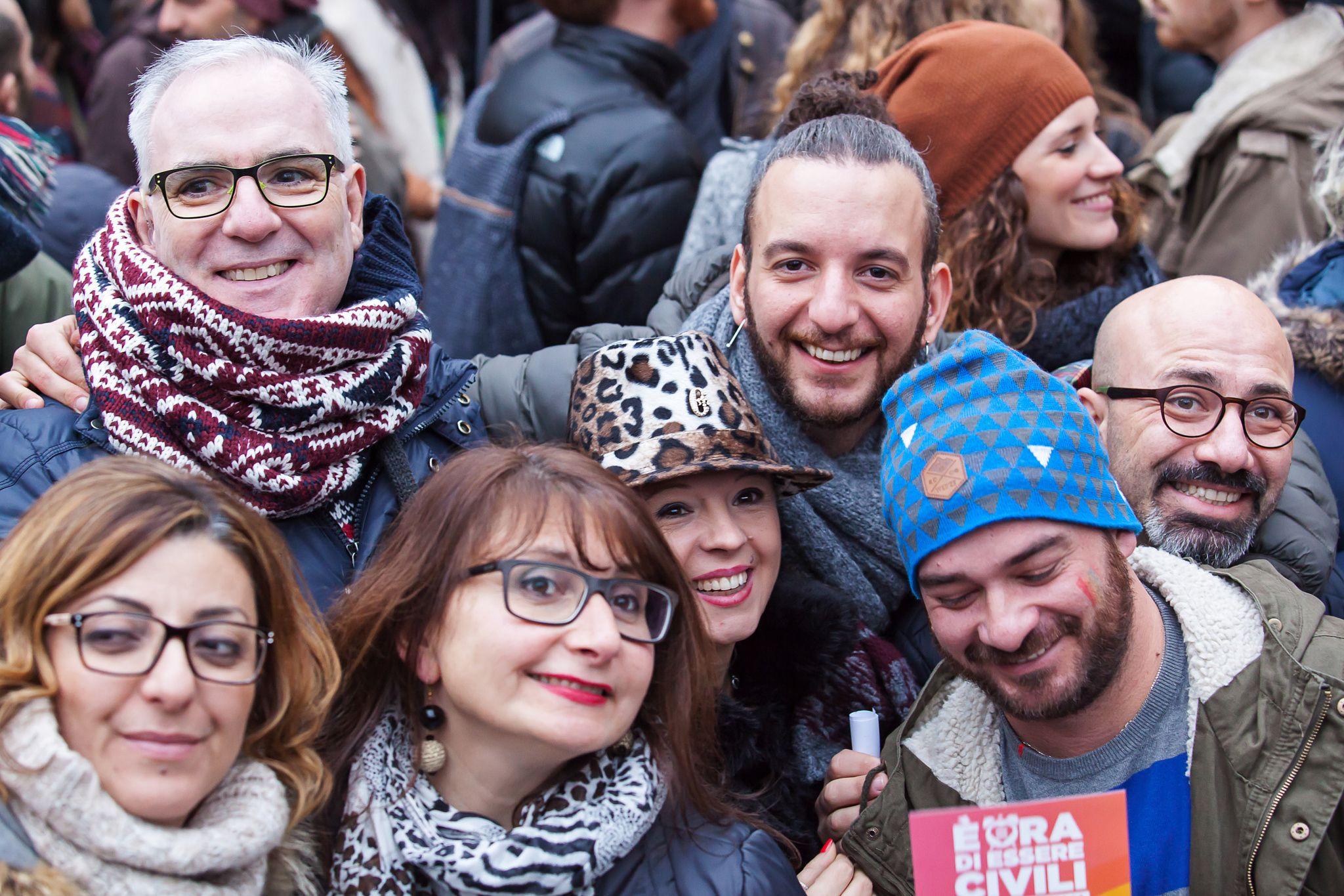 Svegliatitalia - Rome, Italy - 23 January 2016: Svegliatitalia, demonstration in Piazza del Pantheon in favor of the civil rights of homosexual couples.