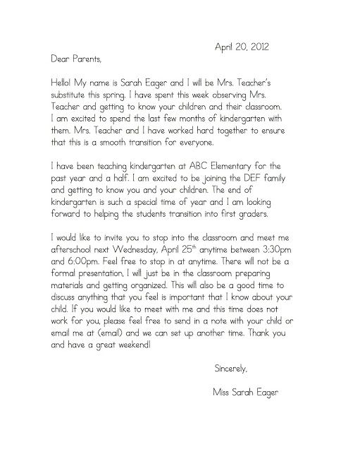 letter to parents from student teacher example