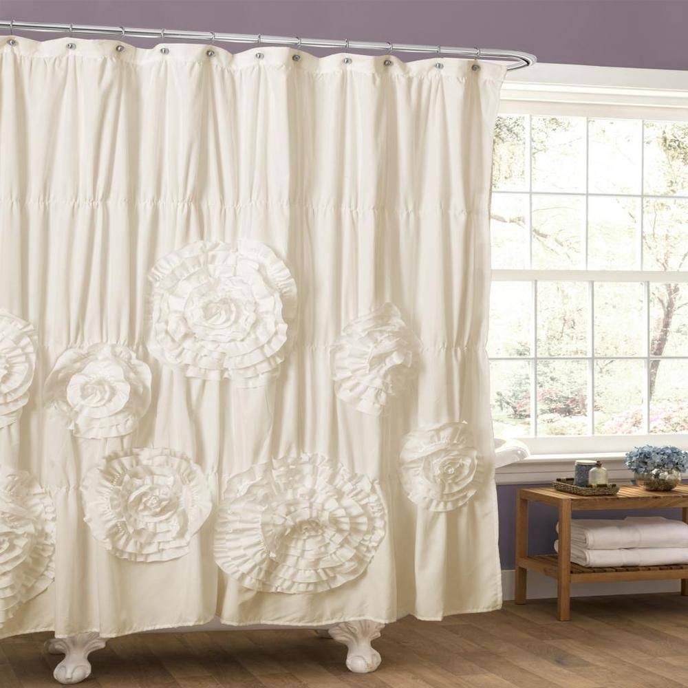 Lush Decor Serena Ruffle Trim Shower Curtain Ivory Beige Off White Polyester Floral