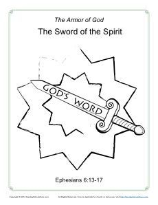 sword of the spirit coloring page free printable bible activity
