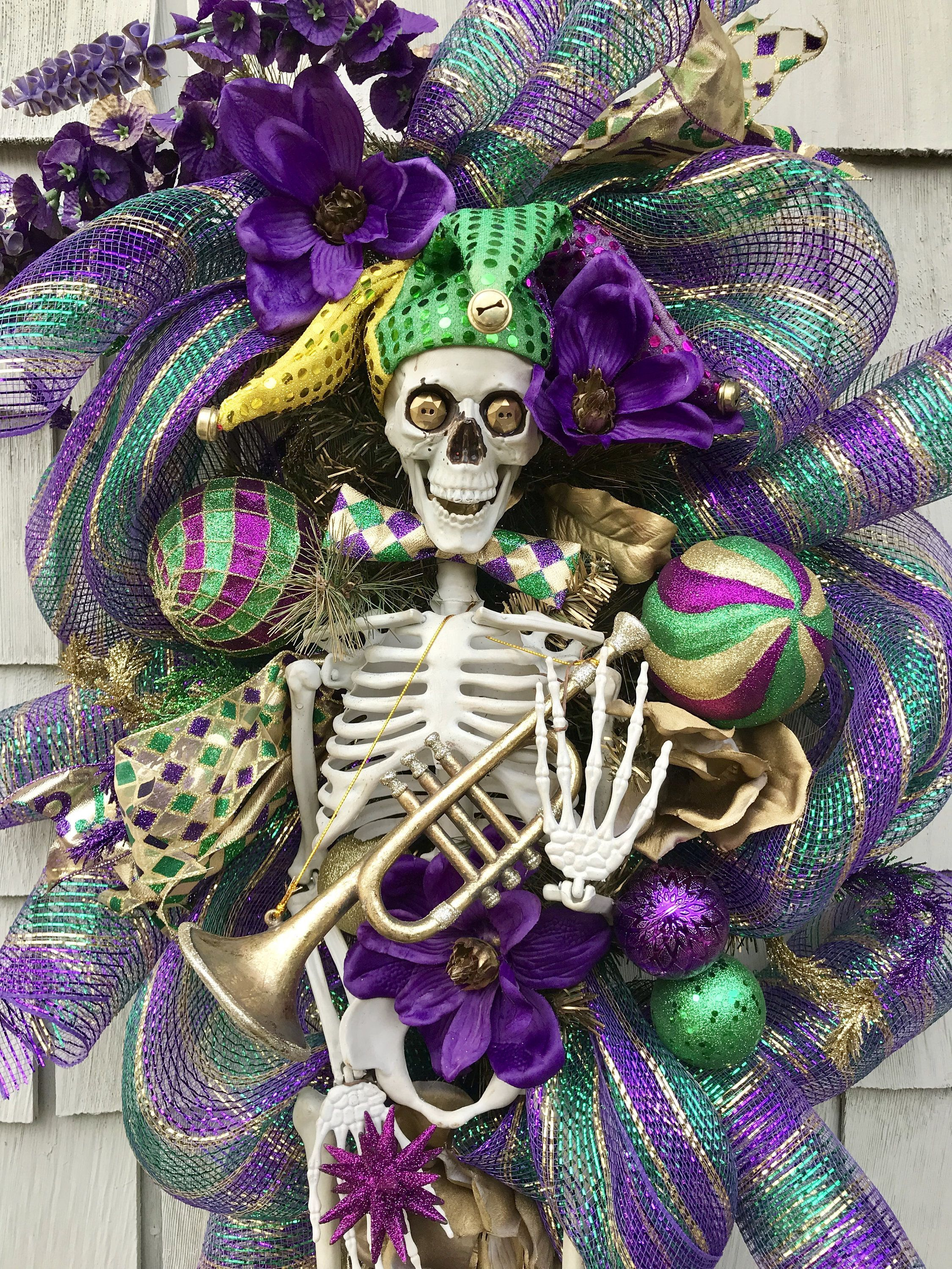 Mardi Gras Wreath Swag, XXL  Mardi Gras Skeleton, Carnival, Skeleton Crew, Purple Green Gold, Mardi Gras Decor, New Orleans Mardi Gras Party -   - #carnival #Crew #decor #Gold #Gras #green #mardi #mardigrascenterpieces #Mardigrascostume #Mardigrascrafts #Mardigrasdecorations #Mardigrasfood #Mardigrasneworleans #Mardigrasoutfit #Mardigrasparty #orleans #party #purple #skeleton #Swag #wreath #XXL