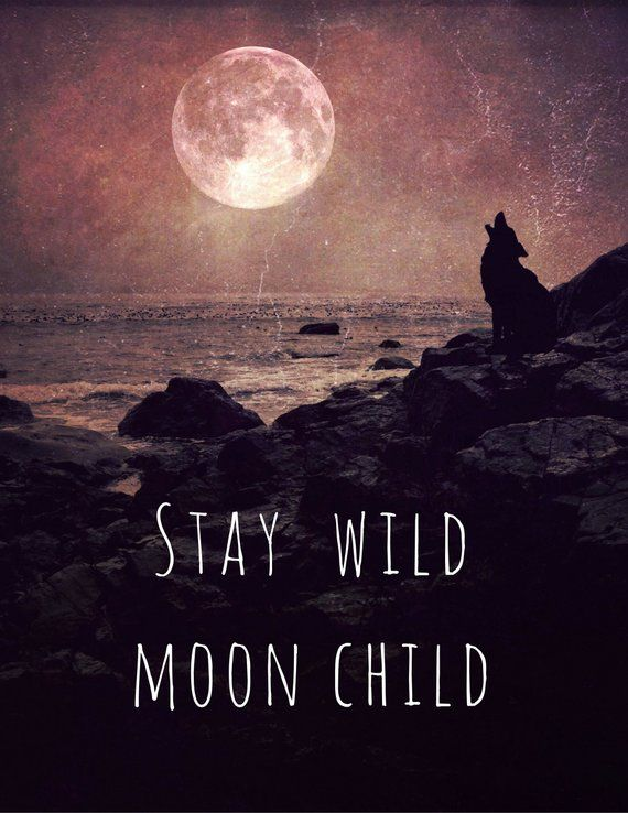 Stay Wild Moon Child PRINT - moon quote, fine art home decor, motivational home wall inspirational typography, office bedroom full moon wolf