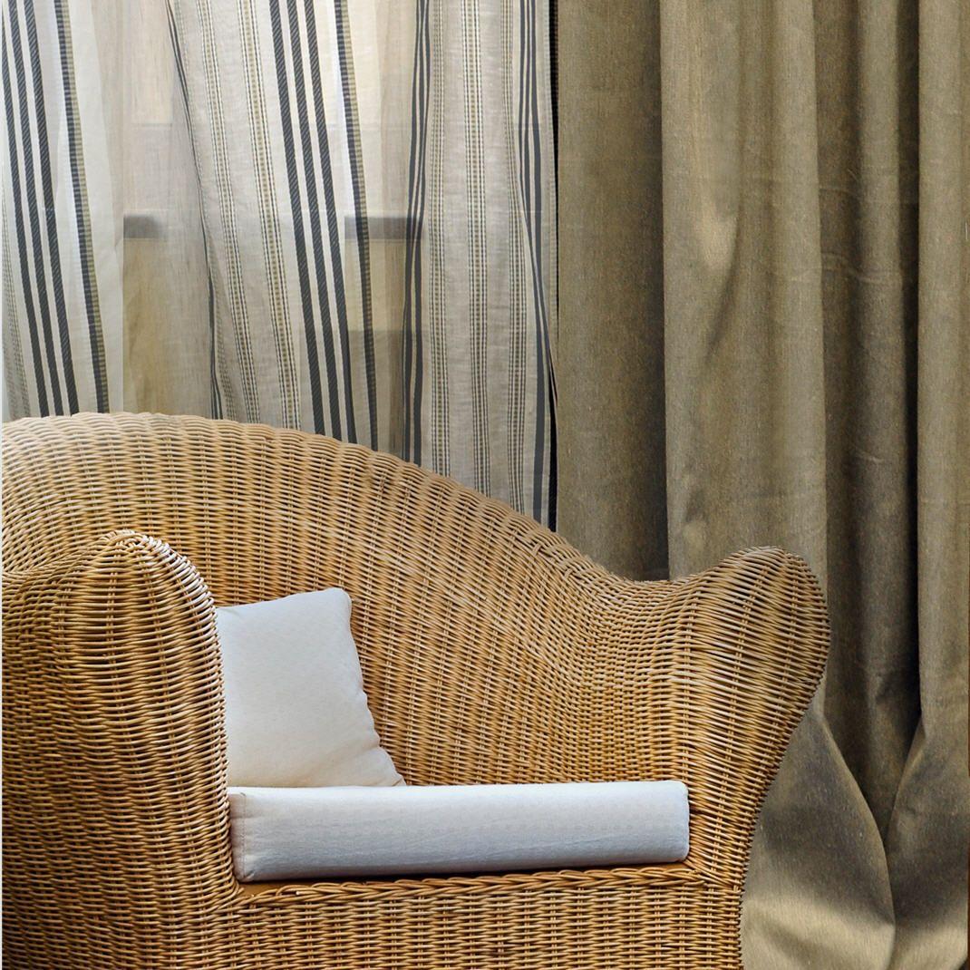 Hampton Bay Ginger Striped Sheer Drapery Fabric By Charles