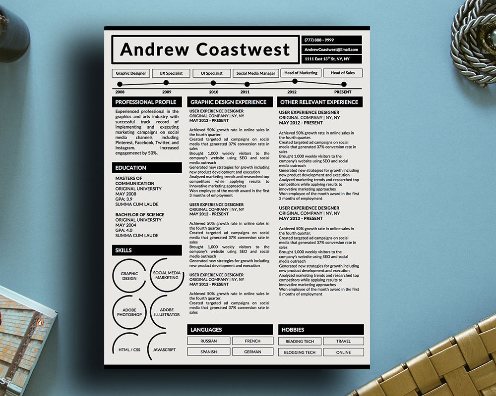 Creative Infographic Resume Template For Microsoft Word The Andrew