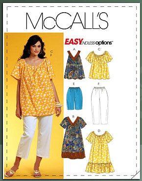 Womens PLUS SIZE Sewing Pattern - MuuMuu Dress Tops Shorts Capri ...