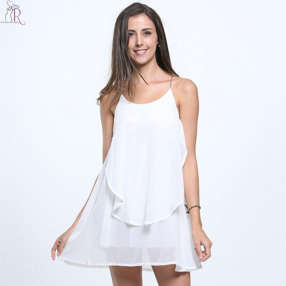 3dd6a856616020 White Asymmetric Mini Chiffon Shift Dress Chain Spaghetti Strap Backless  Cross Sleeveless Loose Casual Layered Women