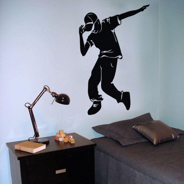 Autocollants decalques wallstickers decals hip hop boy for Appliqu mural autocollant