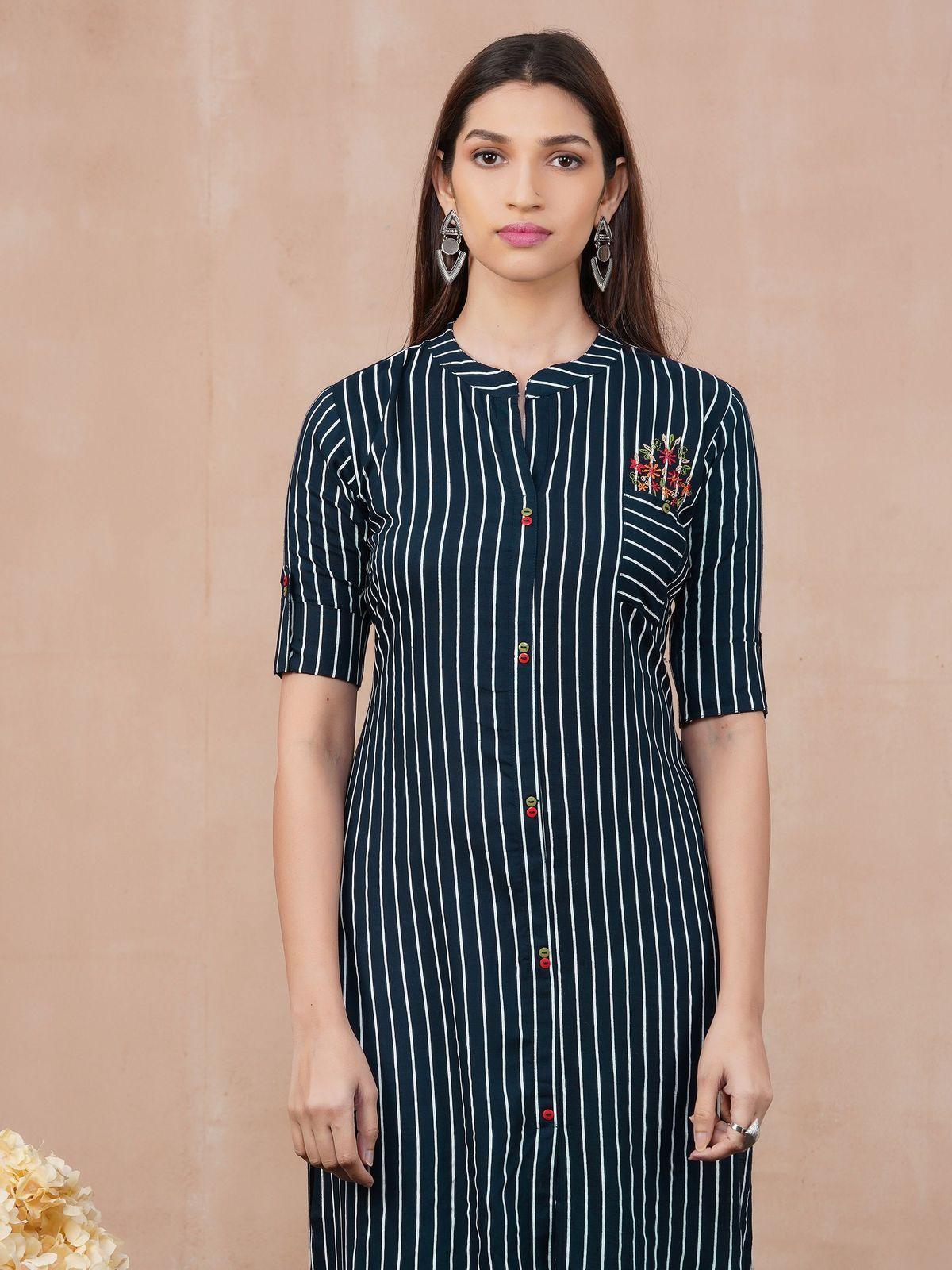 Kurti Traditional Printed Straight KurtaBrown Cotton Dress Stripes V-Neck