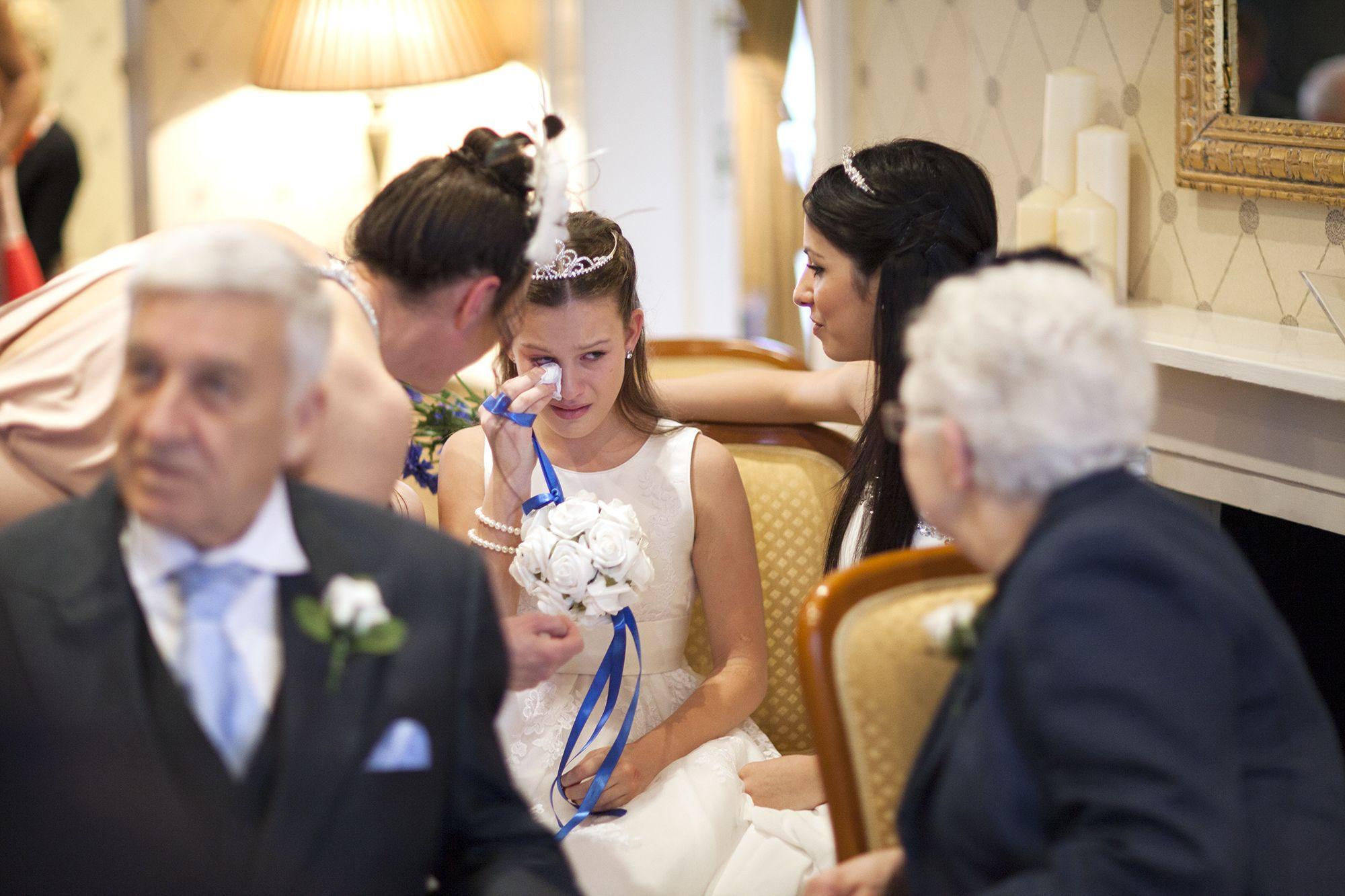 Emotional Bridesmaid Daughter Of The Bride At Canterbury Registry Office Kent