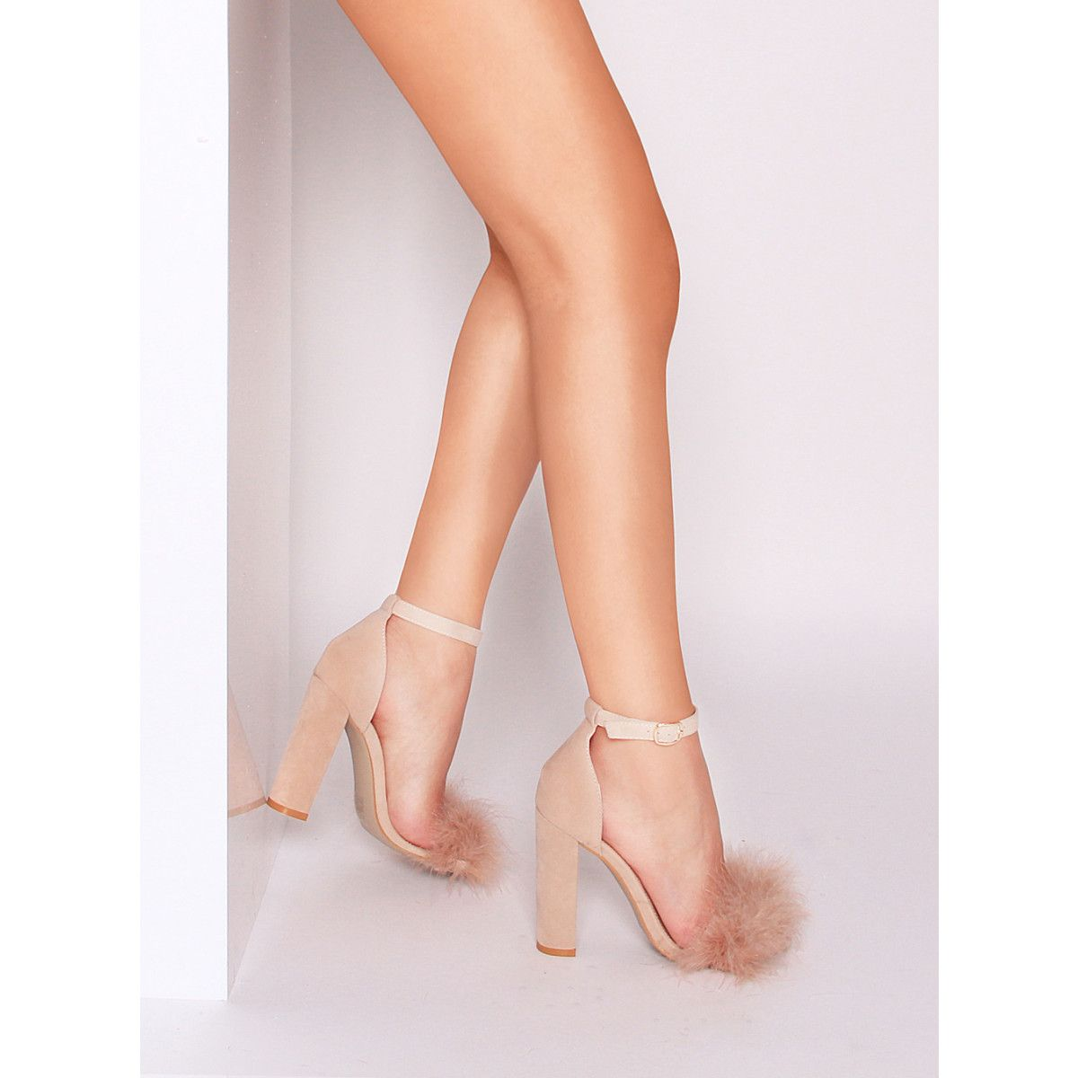 b5fd6736a25 Nieve Nude Suede Block Heel Faux Fur Heels : Simmi Shoes | Booties ...