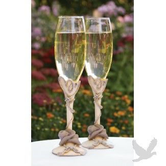 Country Flair Resin Champagne Toasting Flutes