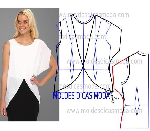 74040015b0d Como hacer blusas bonitas con moldes | moda dama | Blusas, Coser ...