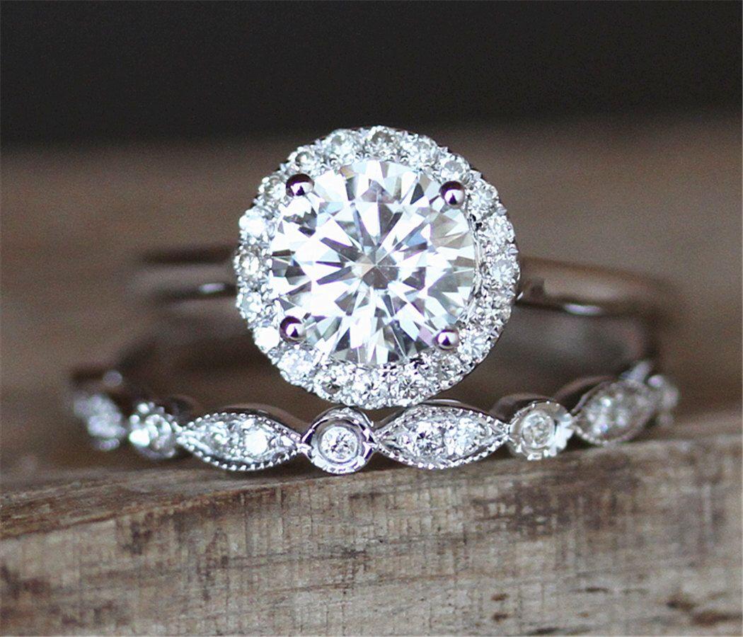 2pcs Moissanite Ring Set 6.5mm Round Cut Moissanite Engagement Ring Set&Art Deco Half Eternity Wedding Ring Set 14K White Gold Ring Set by DesignByAndre on Etsy https://www.etsy.com/listing/484940734/2pcs-moissanite-ring-set-65mm-round-cut