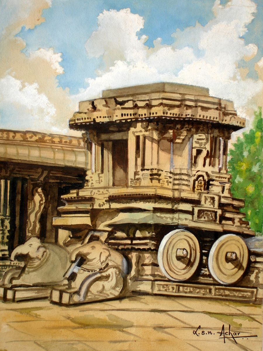 Stone Car Hampi Karnataka India Landscape Paintings Art Drawings