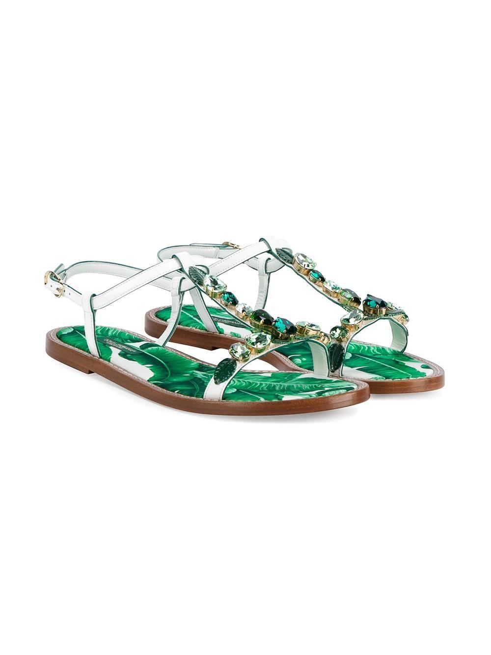 Dolce Et Feuille De Bananier Gabbana Sandales Embelli - Blanc BtFqjpSxh