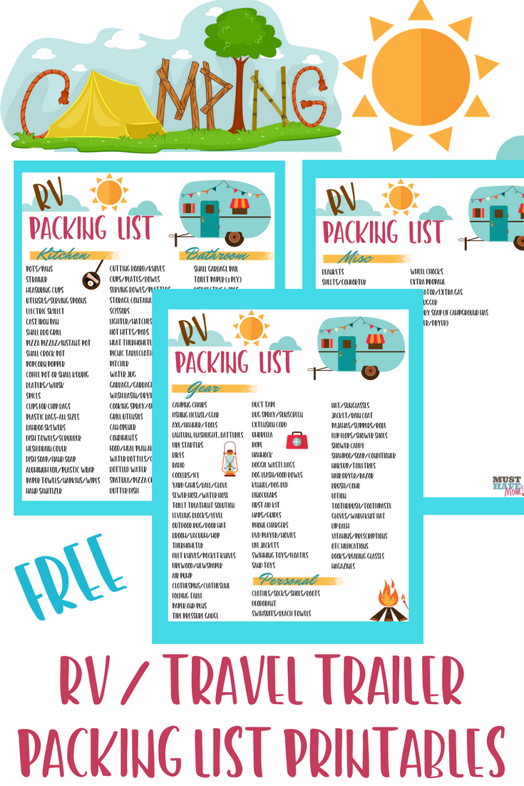 Free RV Checklist Printable Packing List | Camping | Rv ...