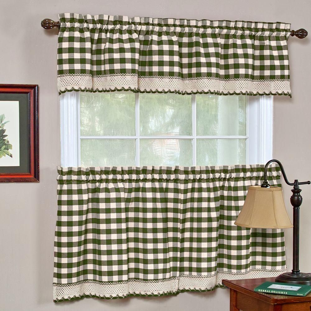 Achim Buffalo Check 14 In L Polyester Cotton Valance In Sage Bcvl14sg12 The Home Depot Gingham Curtains Kitchen Curtains Valance Curtains